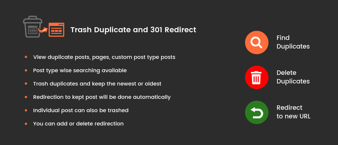 Trash Duplicate and 301 Redirect - WordPress Plugin