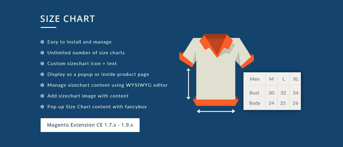 Size Chart - Magento Extension