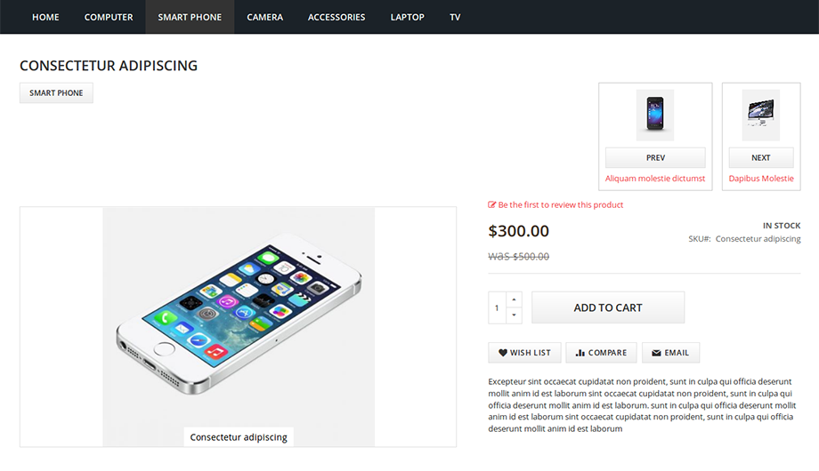 Previous Next Product Navigation Magento 2 Extension –view 1