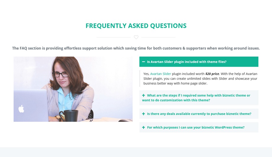 FAQ - Biznetic One Page Business WordPress Theme