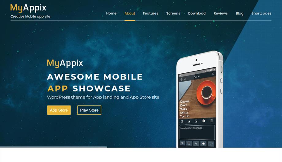 Myappix Mobile App Wordpress Theme Premium Wp Themes