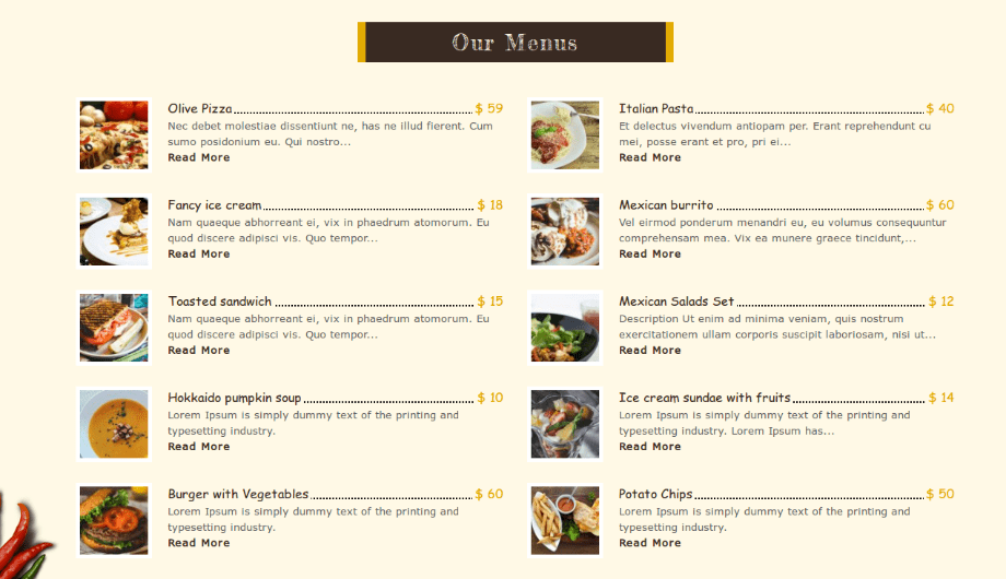 FoodFork - Our Menu