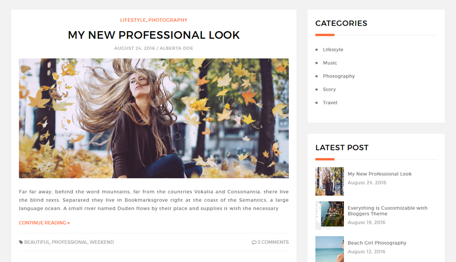 Blog Layout with Sidebar – Bloggers Free Blog Theme