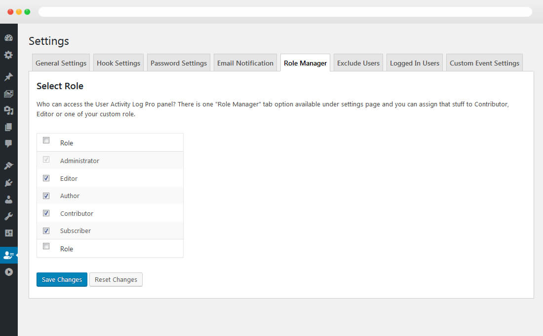 User Activity Log PRO - Role Manager