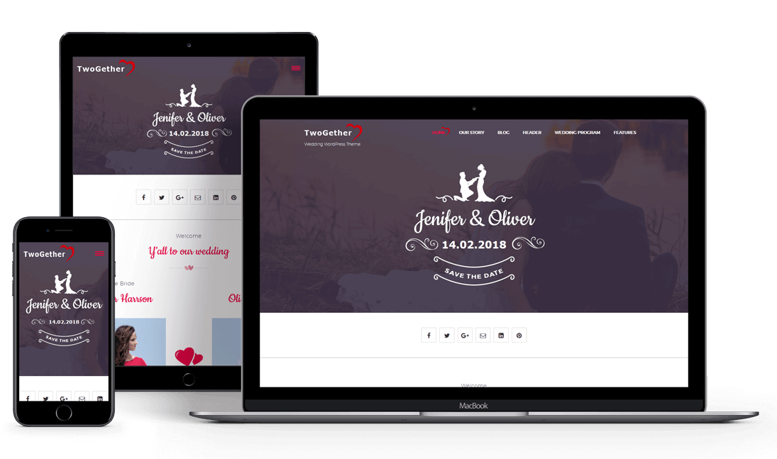 TwoGether PRO - Wedding Responsive Premium WordPress Theme