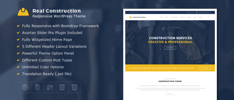 Real Construction – Premium WordPress Theme