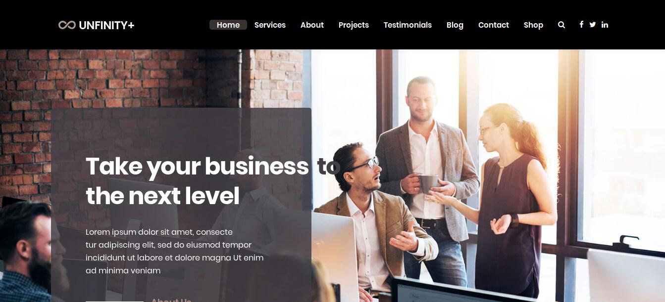 Unfinity Plus - Multipurpose One Page WordPress Theme