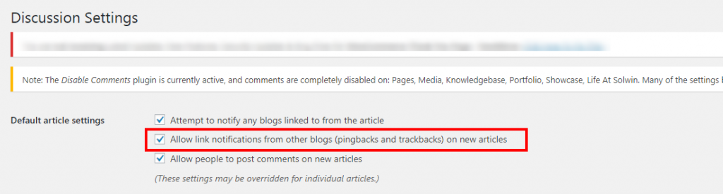 Disable trackback