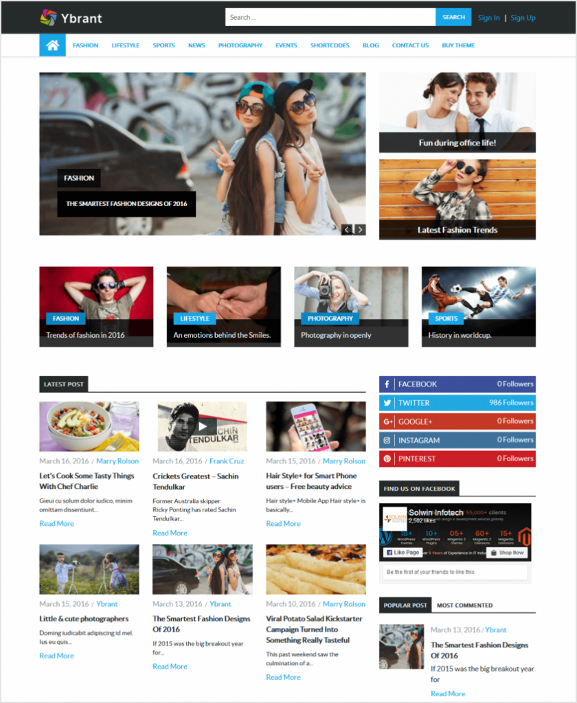 Ybrant - WordPress Theme