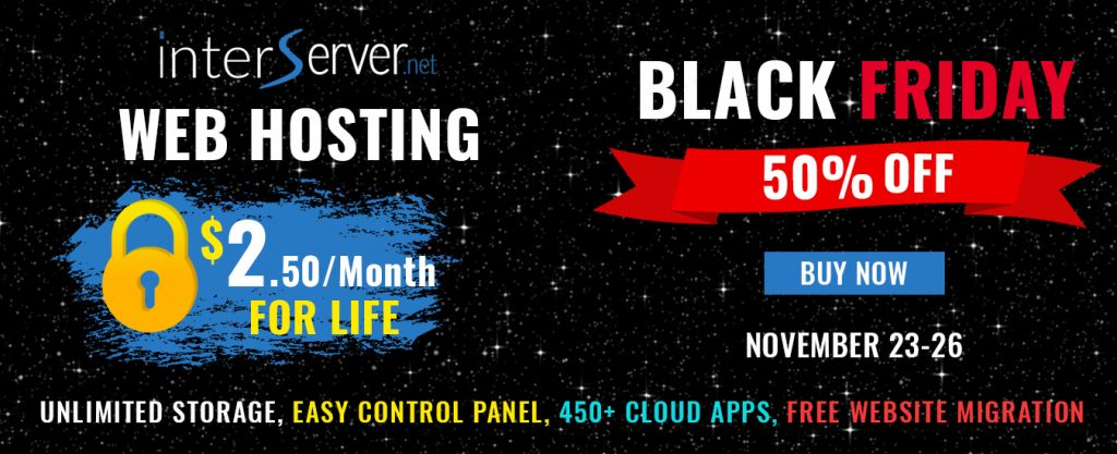 50% off Web Hosting. $2.50 per month standard web hosting package for life time of account.