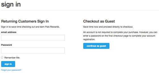 Guest Checkout Page